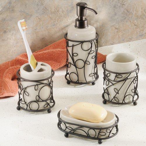 Interdesign twigz bath accessory set soap dispenser pump for Bathroom tumbler sets