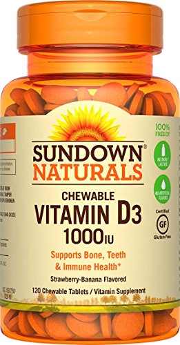 Sundown Naturals Vitamin D3 1000 IU, 120 Chewable Tablets (Pack of 3) (Sundown Vitamin C 1000 compare prices)