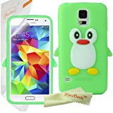HoraDeals(TM) Cute Green Penguin Pattern Galaxy S5 Soft Gel Silicone Skin Case Cover With LCD Film Screen Protector For Samsung Galaxy S5 SV SM-G900F, Including One Microfiber Clean Cloth