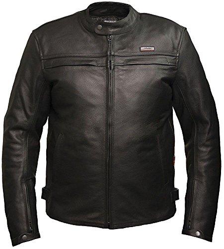 Giacca da moto, in pelle, da uomo, modello Skintan CE nero X-Large