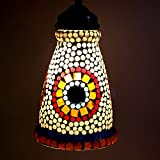 EarthenMetal Handcrafted Lighthouse Shaped Mosaic Decorated White Glass Hanging Light