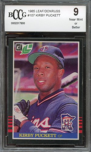 1985 leaf/donruss #107 KIRBY PUCKETT minnesota twins rookie card BGS BCCG 9 Graded Card (Minnesota Twins Kirby Puckett compare prices)