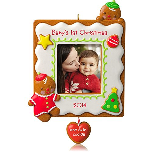 Hallmark 2014 Baby's 1st Christmas One Cute Cookie Photo Holder Ornament - 1