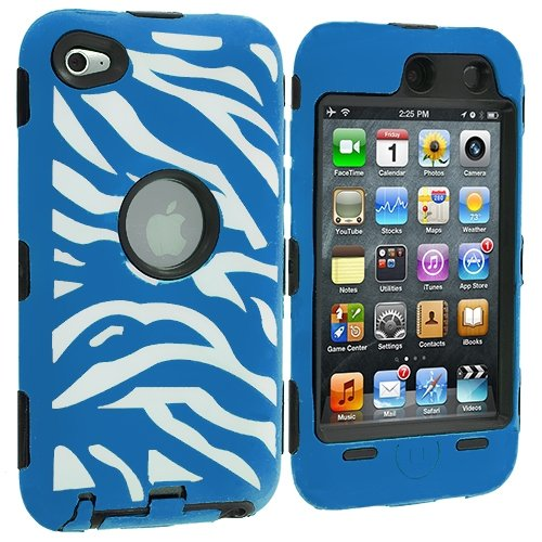 Cell Accessories For Less (Tm) Black / Baby Blue Zebra Hybrid Deluxe Hard/Soft Case Cover For Apple Ipod Touch 4Th Generation + Bundle (Stylus & Micro Cleaning Cloth) - By Thetargetbuys front-1046395