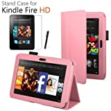 iZKA® - Amazon Kindle FIRE HD 7 inch (2012 Version) Leather Case Cover and Flip Stand Cover Typing Case with Magnetic Sleep Wake Sensor + Screen Protector + Stylus Pen Touch Screen Pen Accessory Pack - Baby Pink