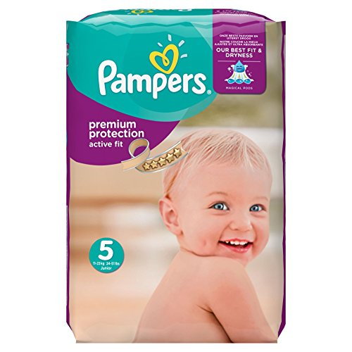 Pampers, Pannolini Active Fit, misura 5 (11 - 25 kg), confezione mensile, 1 confezione (1 x 136 pz.)