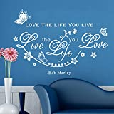 Ferris Store DIY Butterflies Flowers Vines LOVE THE LIFE YOU LIVE English Letter Quote Wall Art Decor PVC Home Decorations Wall Stickers 17.7x25.6
