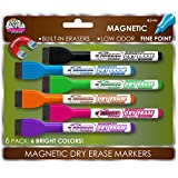 Board Dudes SRX Magnetic Dry Erase Markers, 6-Pack, Assorted Colors (DDM77)