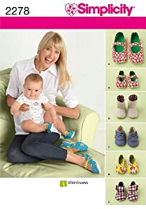 Simplicity Sewing Pattern 2278 Misses' and Baby's Shoes Size A (All Sizes)