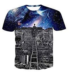 Uideazone Fashion 3D Printed Star Man Graphic Tees Black T-Shirts