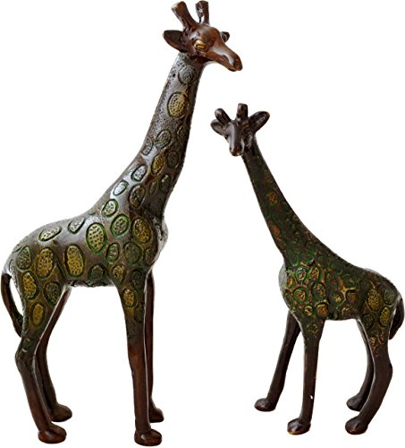 Two Moustaches Decorative Brass Giraffe Pair Showpiece (2 Pcs) | Home Decor |