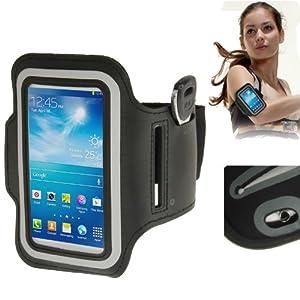 Brassard sport tour de bras noir pour Samsung Galaxy SIV mini S4 mini / i9190 idéal pour les sportifs, course à pied ou salle de sport avec pochette pour clés
