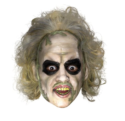 Beetlejuice 3/4 Vinyl Adult Mask with Hair