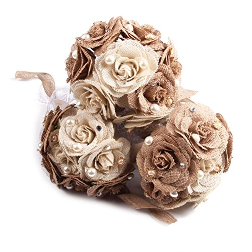 Tinksky Rustic Wedding Bouquet Burlap Flower Bouquet Lace and Pearls Wedding Anniversary Engagement Decoration, Christmas Gift