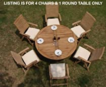 "Hot Sale New 5 Pc Luxurious Grade-A Teak Dining Set - 60"" Round Table And 4 Ashley Reclining Arm Chairs"