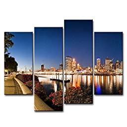 So Crazy Art® 4 Piece Wall Art Painting Brisbane Australia Evening River Bridge Lights Park Pictures Prints On Canvas City The Picture Decor Oil For Home Modern Decoration Print