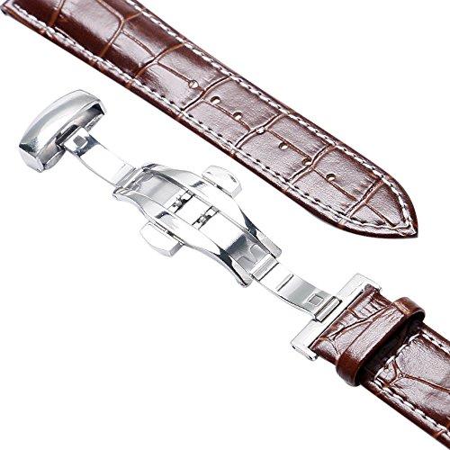 YISUYA 22 mm, cinturino in vera pelle per orologio da polso, cinturino a pulsante diffusione, colore: marrone