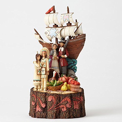 collectible thanksgiving figurines - Jim Shore We Are Blessed Pilgrims and Mayflower Carved by Heart Figurine 4053853