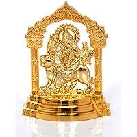 Hashcart (5.5 Inch) Maa Durga Sherawali Darbaar - Brass Gold Plated Especially For Diwali Puja And Gift Purpose