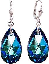 925 pendientes de plata de rodio con cristales SWAROVSKI gota de 22 mm grande, color Bermuda Blue, azul