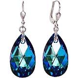 Ohrringe 925 Silber Rhodium mit SWAROVSKI ELEMENTS Tropfen 22mm groß, Farbe Bermuda Blue, blau