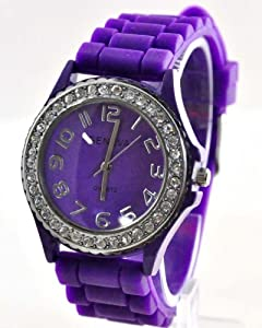 Silicone Gel Ceramic Style Jelly Band Crystal Bezel Womens Watch Purple from Geneva