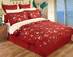 10 Piece Full / Queen Red 100% Cotton High Quality Emboridery Duvet Cover Bedskirt and Sheets Set