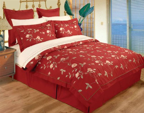 10 Piece Full / Queen Red 100% Cotton High Quality