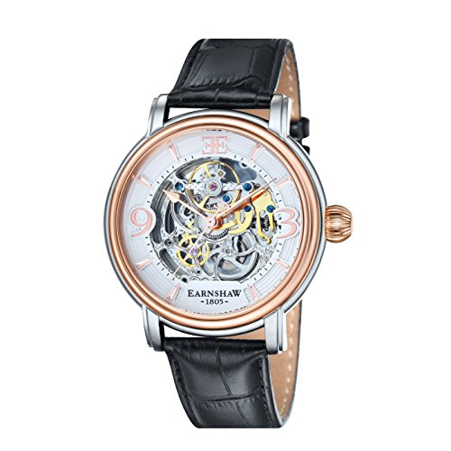 Thomas Earnshaw Longcase Men's Automatic Watch with White Dial Analogue Display and Black Leather Strap ES-8011-06