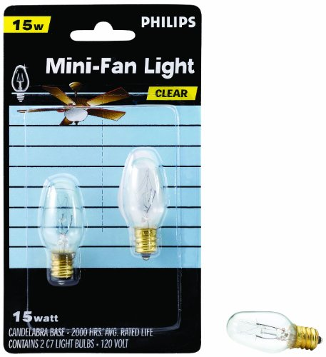 Philips 133876 Clear 15-Watt C7 1/2 Candle Base Ceiling Fan Light Bulb, 2 Pack