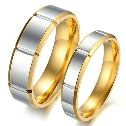 Daesar Mens Wedding Bands Stainless Steel Silver Gold Highly Polished Rings for Couples Size 7 (Groupon For Hotels compare prices)