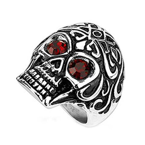 Stainless Steel Wide Skull with Red Simulated Diamond Eyes & Royal Tribe Pattern Design with Small Centered Red Simulated Diamond (Width: 27MM) - Crazy2Shop