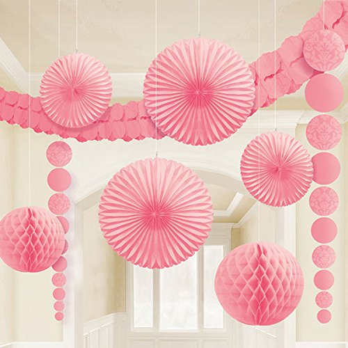 "Amscan New Damask Wedding Decorating Kit (9 Piece), 15.5 x 10.5"", Pink"