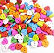 Pack of 20 Multicoloured Butterfly Shaped 2 Hole Wooden Buttons for Scrapbooking, Crafts, Sewing, DIY.