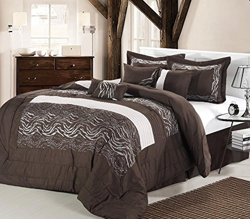 Be&D 8Pc Luxury Bedding Set ZEBRA BROWN  WHITE  2515Calking
