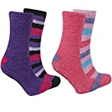 4 x Ladies Fleece Socks Style: Fleece lounge socks Fabric: 97% polyester, 3% elastane Colour: 4 assorted colours per pack Size - UK 4-8 4 pairs of soft fleece socks. Each pack of 2 is wrapped in ribbon. 2 packs of 2 pairs per set.