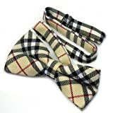 New Yellow Checkers Plaid Mens Pre-tied Tuxedo Wedding Party Polyester Bow Tie