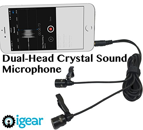 iGear Dual-Head High Sensitivity Binaural Microphones With Premium Cables, Windscreens and Removable Clips. Cable length 236.22 inches & Free DSLR Adapter