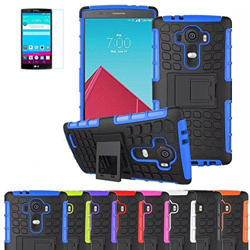 LG G4 Case, JCmax Shockproof [Bumper] [Ultra Fit] Heavy Duty Combo Hybrid Dual Layer Grip Case With Rugged Kickstand For LG G4 Smartphone,Come With One Screen Protect Flim and One Stylus -[Blue]