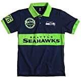 KLEW NFL Seattle Seahawks Men's Cotton Wordmark Short Sleeve Polo Shirt, Green, Large