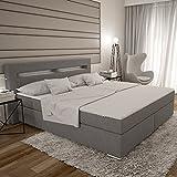 Dalian Boxspringbett 180x200 cm - graues Polster-Bett in Stoff mit integrierter LED-Beleuchtung | edles Designer-Bett...