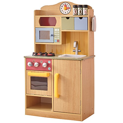 Teamson Kids - Little Chef Wooden Toy Play Kitchen with Accessories - Burlywood (Kid Play Kitchen compare prices)
