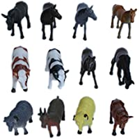 Pet And Farming Animals Plastic Toy Set - Pack Of 12 - 1c194 - Educational & Decorative Toys For Kids