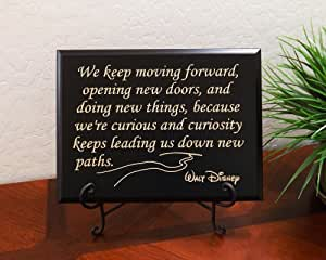 """Timber Creek Design Decorative Carved Wood Sign with Quote """"We keep moving forward, opening new doors, and doing new things, because we're curious and curiosity keeps leading us down new paths. Walt Disney"""" 3D Carved 12""""x9"""" Black"""