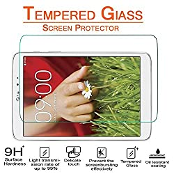 Anoke LG G Pad 8.3 LTE V500 V510 Tempered Glass Screen Protectors 9h Hardness, 2.5d Rounded Edges, 0.3mm Thickness (LG G Pad 8.3)