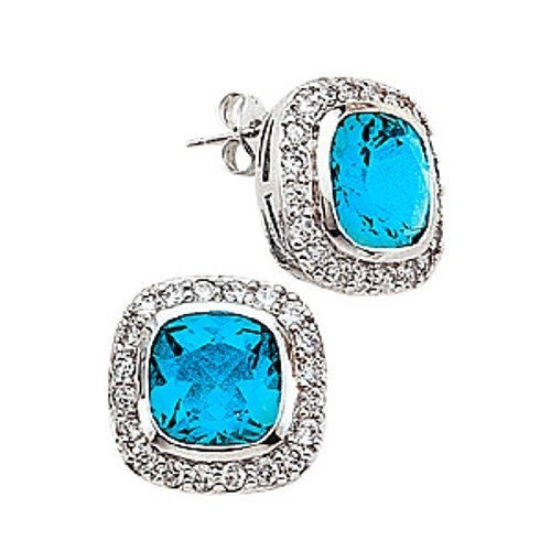 .925 Sterling Silver Square Simulated Blue Topaz Earrings