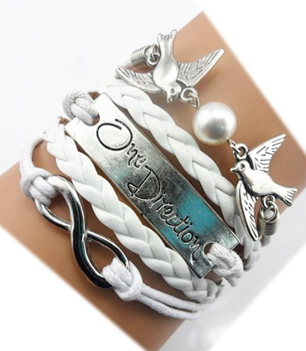 Twinkle Handmade Infinity One Direction Kiss Birds Charm Friendship Gift - Leather Personalized Bracelet by Twinkle