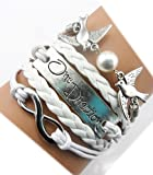 Twinkle Handmade Infinity One Direction Kiss Birds Charm Friendship Gift - Leather Personalized Bracelet