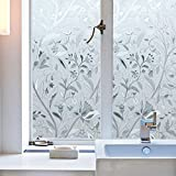 Bloss Static Cling Decorative Window Film Sticker with Flowers Pattern Privacy Frosted Glass Film for Window DIY Home Decoration Sticker (17.7''x 78.7'')