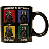 Silver Buffalo SW7734 Star Wars Darth Vader Grid Ceramic Jumbo Mug, 20 oz., Black
